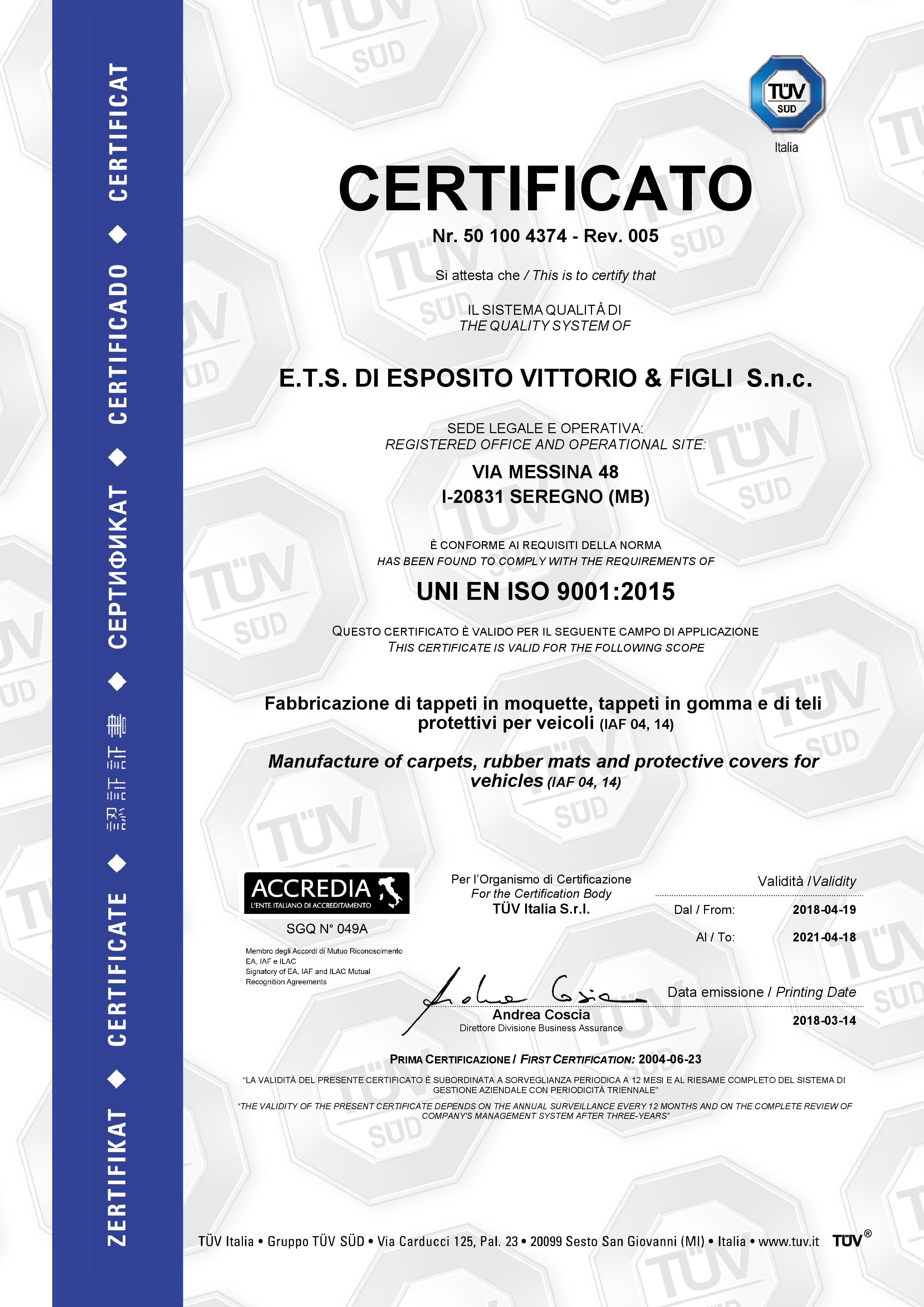 ETS -- ISO 9001 certificate exp. 2021-04-18