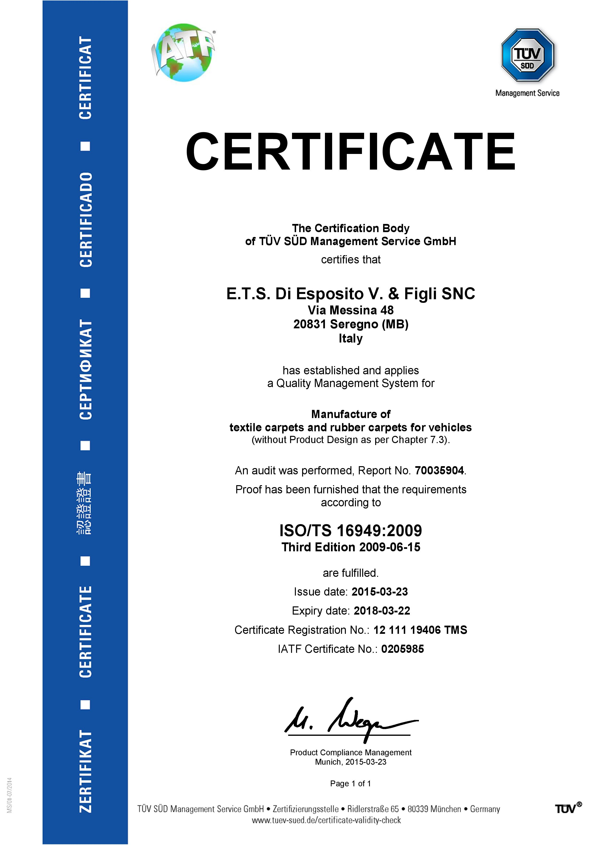 ETS -- ISO-TS 16949 certificate ENG - exp. 2018-03-22